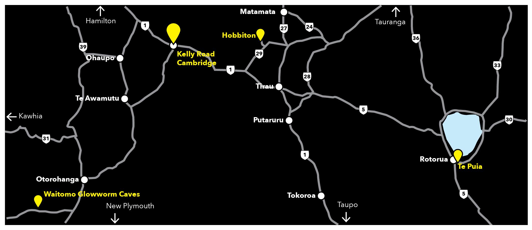 Map showing Kelly Rd, Hobbiton Movie Set, Waitomo Glowworm Caves and Te Puia